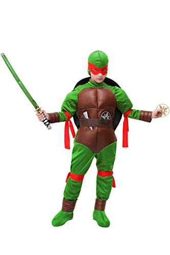 ARRIVA IL CARNEVALE COSTUME - TARTARUGA  Il costume è realizzato in maglina+ ecopelle accoppiata e ecopelle invecchiata. SCHEDA TECNICA: tuta+ guscio+ cinta+ fascie+ copriscarpe+ maschera+ cappuccio e set ninja Completo di tutte le fascie nei vari c...