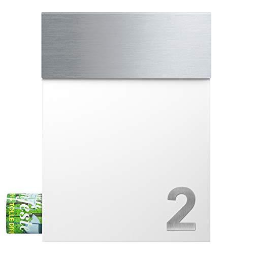 MOCAVI Box 510 plus gratis eine Edelstahl Hausnummer V4A Design-Briefkasten Postkasten, signal-weiss (ral 9003), mit Ihrer Wunsch-Hausnummer:1