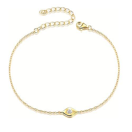 Lemon Grass Dainty Evil Eye Bracelet Sterling Silver Gold Bracelets