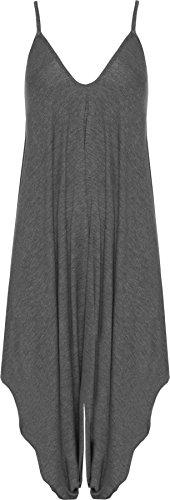 WearAll - Damen Lagenlook Strappy Ausgebeult Harem Jumpsuit Kleid Top Playsuit - Dunkelgrau - 40-42