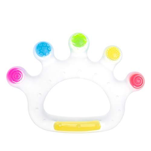 Komake Juguetes Mordedores de Bebé 3+ Meses Mordedor Bebes Refrigerante de silicona sin BPA,Mordedor para bebé con Corona de Caramelo Multicolor Transparente
