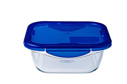Pyrex Cook & Go Poêle Multi-usages Carrée avec Couvercle Hermétique, Transparent & Bleu, 21 x 21 x 8 cm, 1,9 L, 6 pièces