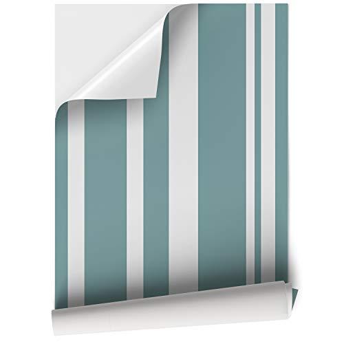 DON LETRA Papel Adhesivo de Vinilo para Muebles y Pared - 45x200cm - Rayas Turquesas, Fondo Blanco - Vinilo Resistente, Impermeable y Removible, V-MUPA-027