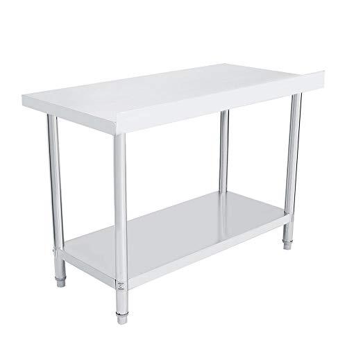 Edelstahl Arbeitstisch, Doppelschicht Edelstahltisch Küchentisch, Multifunktion Tisch, 0.6mm starke Stahlplatte, korrosionsbeständig(4x2FT=122X61CM)
