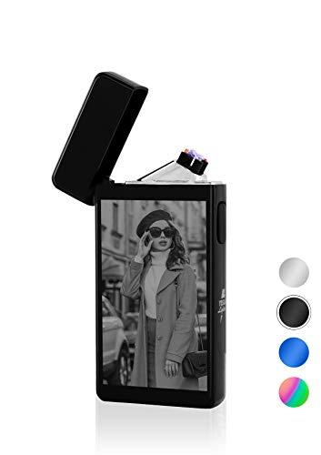 TESLA Lighter T13 elektronisches USB Lichtbogen Feuerzeug, Schwarz mit Ihrem Foto, als Logo-Gravur, Bilder-Gravur, Motiv-Gravur. Personalisiertes Geschenk