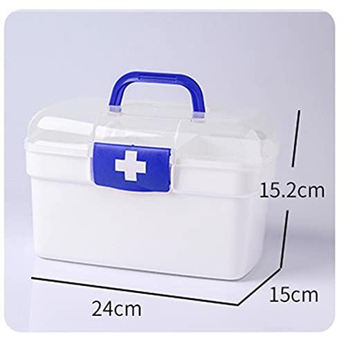 Clhbaih Caja médica Caja de Primeros Auxilios Caja de Medicina plástica Bins DE Almacenamiento Multi-Capa CONTENEDOR MÉDICO MEDICIAL Cross Cross Accesorios MÉDICOS Organizador (Color : M Blue)