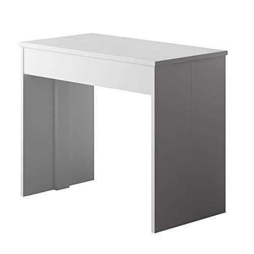 Mesa de Comedor Extensible, Consola Extensible, Mesa Multiposición, Acabado en Color Blanco Mate, Medidas: 90 cm (Ancho) x 50-300 cm (Largo) x 78 cm (Alto)