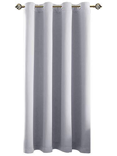 FLOWEROOM Verdunkelungsvorhang Blickdichte Gardinen - Lichtundurchlässige Vorhang mit Ösen für Schlafzimmer Geräuschreduzierung Grau weiß 175x140cm(HxB), 1 Stück