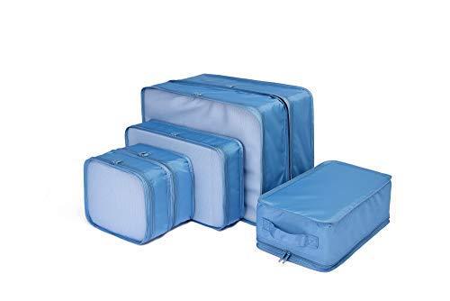 トラベルポーチ アレンジケース 便利グッズ スーツケース整理 出張 旅行 衣類収納 靴 軽量 大容量 6点セット 洗面道具入れ (オーシャンブルー)