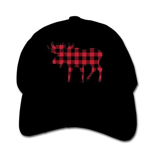 Buffalo Plaid Moose Unisex Sports Cap Teen Hut Sunproof Kids Cap Hip-Hop Cap Verstellbare Baseball Cap Sun Hat für Kinder