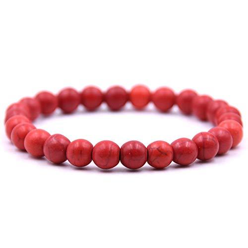 Jude Jewelers Elasic Natural Turquoise Lava Stone Beads Yoga Sports Strand Bracelet (Red)