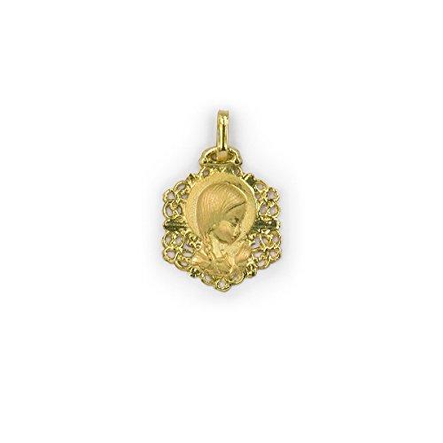 OROSEVILLA Medalla Bebé/Niña Oro Amarillo 18 ktes Tamaño 13 mm Virgen Niña Calada