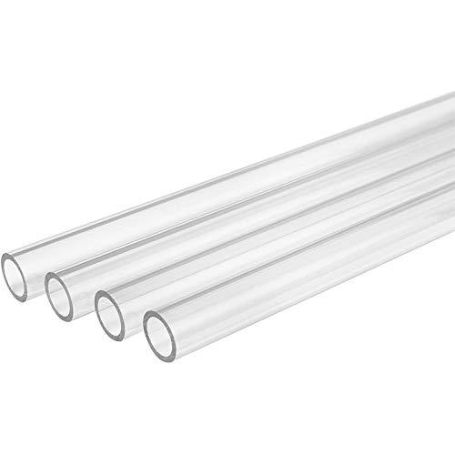 ACAMPTAR Ordenador Tubo RíGido Transparente Petg Refrigerado por Agua Ninguno Tubo de Enlace de ChafláN, 16 Mm Od, 12 Mm ID, 500 Mm de Longitud, Transparente, Paquete de 4