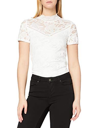 VILA CLOTHES Damen Top VISTASIA S/S LACE NOOS, Weiß (Cloud Dancer), 36 (Herstellergröße: S)
