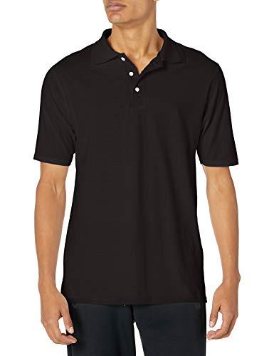 Hanes mens X-Temp Performance Polo Shirt,Black,Large