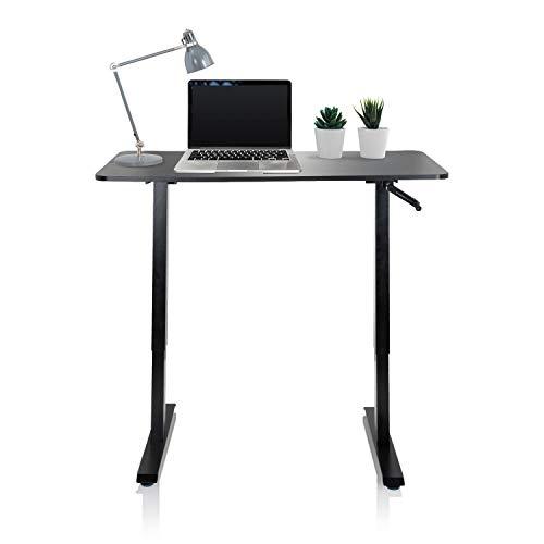 hjh OFFICE 802115 biurko z regulacją wysokości 120 x 60 cm Stand CR czarne biurko komputerowe regulowane ręcznie