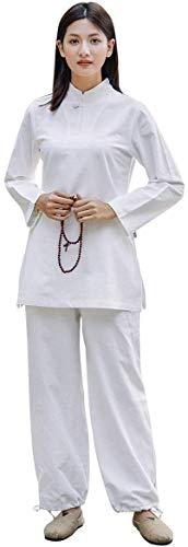 HLZY Uniformes Tradicionales Chinos de Tai Chi Kung Fu Mujeres Tai chi Uniforme algodón Zen meditación Traje Chino Tradicional Artes Marciales mañana (Color : White, Size : UK S/Tag M)