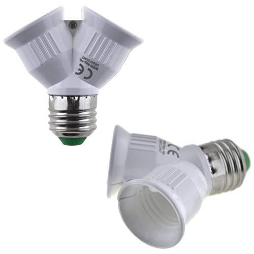 SeKi - E27 Fassung auf 2xE27 Fassung Lampensockel Adapter; Lampenadapter für LED Halogen und Energiespar Leuchtmittel, 312134, weiss
