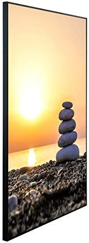 InfrarotPro Infrarotheizung, Steine gestapelt bei Sonnenuntergang, 120x75x3 cm