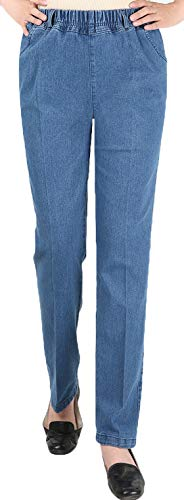 Youhan Women's Casual Pull On Elastic Waist Jeans (Medium, Light Blue)