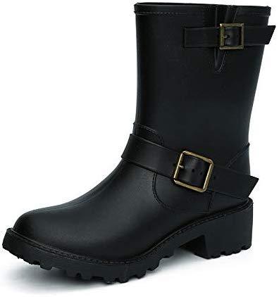 NO BRAND Botas de Lluvia Zapatos Occidental del Vaquero Negro Botas de Lluvia Soldado de Sexo Femenino de la Motocicleta de Agua de PVC Suave y cómodo Cargadores del Tubo de Agua Media Botas de Nieve