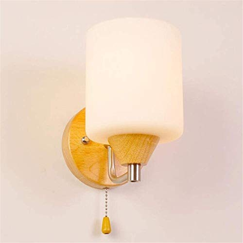 Aplique de pared industrial LED, Lámpara de pared de madera japonesa Lámpara de cristal helada Luz de pared de madera de roble con interruptor de interruptor de interruptores de cable para dormitorio