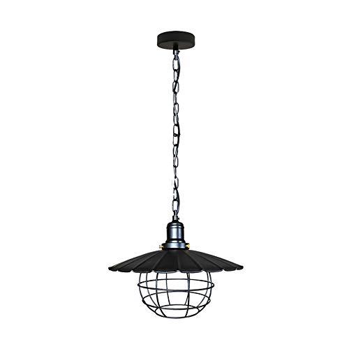Lámpara de techo industrial vintage con jaula Loft de metal negro para cocina, restaurante, pasillo, diámetro de 30 cm