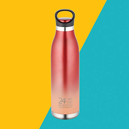 Borosil Stainless Steel Hydra ColourCrush - Vacuum Insulated Flask Water Bottle, 700 ML, Red
