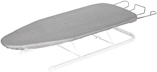 STORAGE MANIAC Tabletop Ironing Board with Iron Rest, All-Iron Frame & Silver Metallic Cover for Faster Ironing