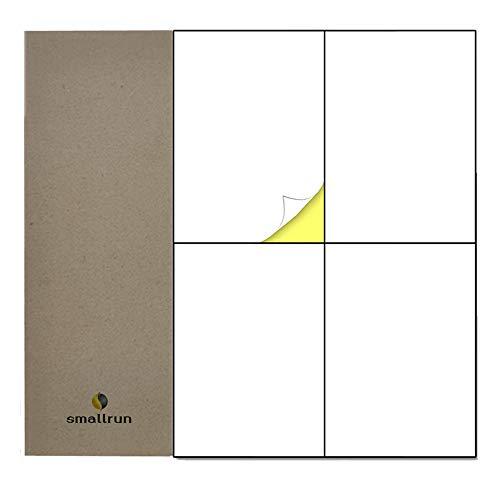 A4 Etiqueta Adhesiva Pegatina 4 etiquetas Blanca por hoja 100 Hojas 400 Pequeñas Etiquetas Autoadhesiva Etiquetas Adhesivas compatibles con impresoras de láser y tinta (BLANCO, 100 Hojas|4 por Hoja)