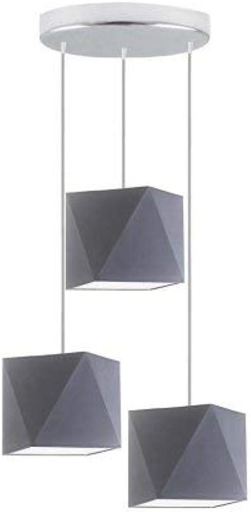 lysne, lampadario a sospensione in acciaio cromato con paralume grigio, metallo, acciaio, plastica