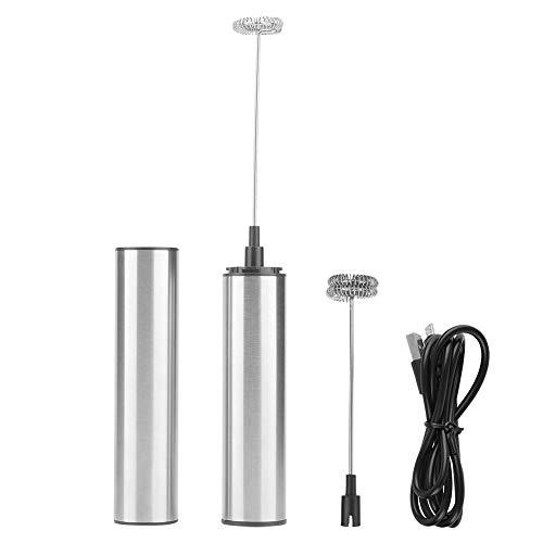 Mousseur à lait électrique, Fouet émulsionneur à Lait USB, mélangeur à café rechargeable avec couvercle et tête de fouet à 2 ressorts pour la cuisine
