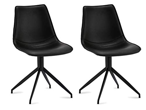 Ibbe Design zestaw 2 krzeseł do jadalni ze sztucznej skóry, styl industrialny, obrotowe, krzesła Lounge Jonas, czarne, stelaż metalowy, 48 x 57 x 85 cm