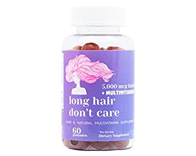 Hair Growth Vitamins Gummies with High Potency Biotin 5000 mcg, Vitamin A, Vitamin C, Vitamin B, Vitamin D, Pantothenic Acid and Folic Acid by Long Hair Don't Care | Made in USA | Non-GMO