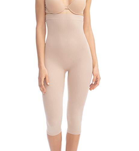 Farmacell 123 (Carne, S/M) Faja Pantalon con Cintura Alta Que Cubre hasta la Pantorrilla, con Efecto masajeador