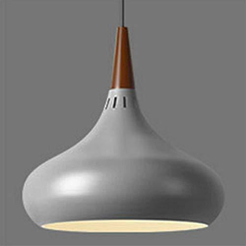 KESAI HomeDeco Nordic Modern Pendelleuchte, Hängelampe aus Aluminium und Holz für Esstisch, E27-Lampenfassung, runde Macaroon-Pendelleuchte für Esszimmer, Schlafzimmer und Café,Grau,28CM