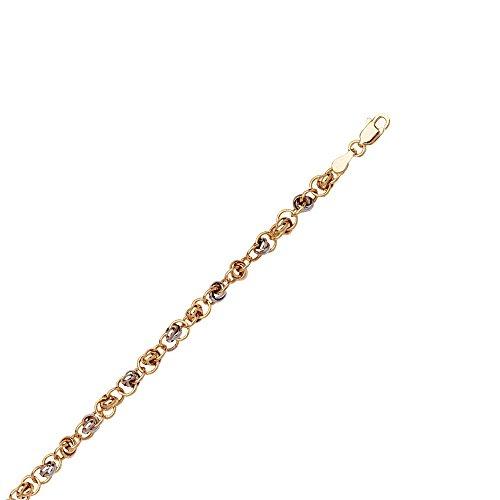 14ct geel wit goud tweekleurig dun Multi Link ketting armband met kreeft slot - 7.50 inch