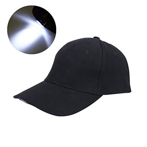 Ardux - Casquette de baseball avec lampe frontale à LED, mains libres - Casquette unisexe à lampe pour la chasse, la pêche, le camping, la randonnée, le jogging, la pêche