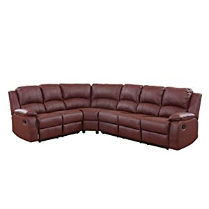 """Large corner sectional for big families or groups with end reclining seats for maximum comfort Durable bonded leather upholstery with overstuffed seats and arm rests Can sit up to 6 people - Minor assembly required Overall Length- 81"""" (A)+ 104""""(B) Wi..."""