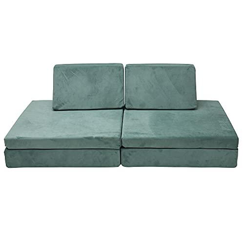 Children's Factory The Whatsit Kids Couch or 2 Chairs, Teal, CF349-072, Toddler to Teen Bedroom Furniture, Girls and Boys Playroom Sofa and Play Set