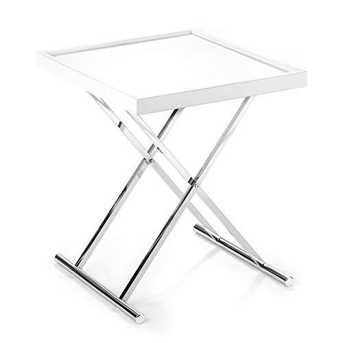 Wink Design, Baldi, Tavolino Richiudibile Con Vassoio Estraibile, Bianco, 70 x 57 x 7 cm
