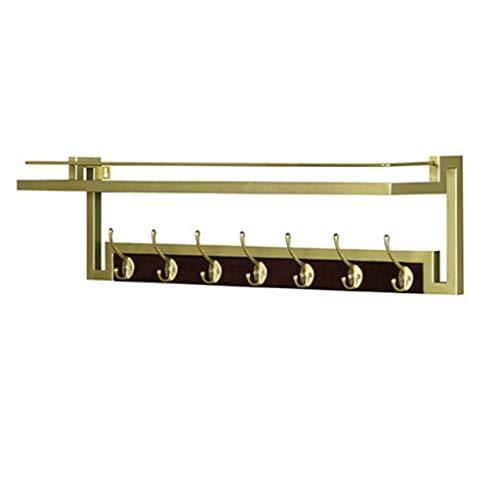 Perchero de pared rústico con ganchos de madera maciza, ideal para su entrada, cocina, baño, perchero de pared (color: dorado, tamaño: 7 ganchos).