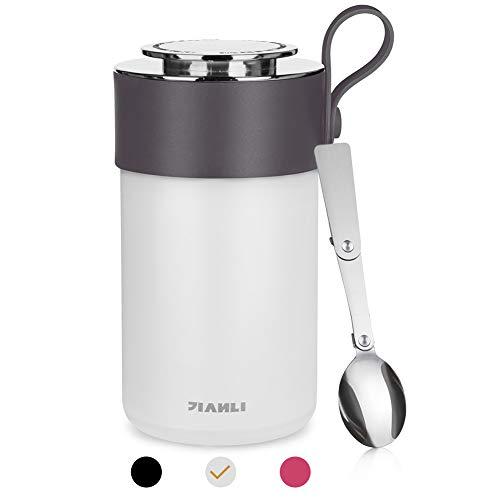 Opard Thermobehälter 600ml-Edelstahl Isolierbehälter Gefäß-Thermo Speisebehälter Box für warme Speißen, Essen, Babynahrung, Suppe, Obst - Behälter für Baby-Speisegefäß-Thermogefäß (Elfenbein Weiß)