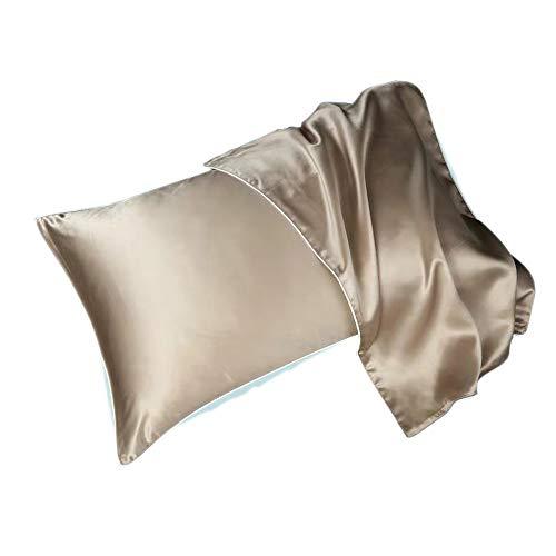 Panjzylds - Funda de almohada de seda de alta gama, 6A grade/100% seda morera, cuidado del cabello y sueño, funda de almohada de verano lavable 48 x 78 cm