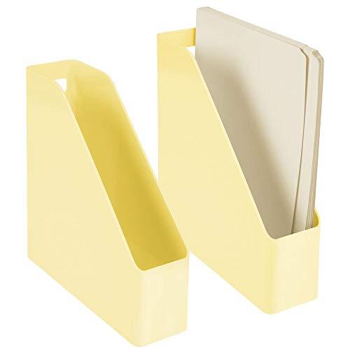 mDesign 2er-Set Stehsammler für Zeitschriften, Akten oder Umschläge – Zeitschriftenhalter aus Kunststoff mit Griff – vertikales Ordnungssystem für den Schreibtisch – hellgelb