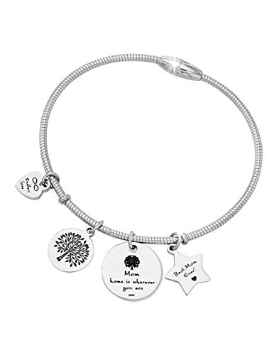 Gift for Mom - Best Mom Ever Family Tree Charm Pendant Bracelet Jewelry for Mother's Day from...
