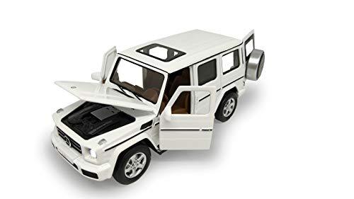 Jamara 405207 Street Kings Mercedes-Benz G350d 1:32 Diecast weiß – Rückzugmotor, Scheinwerfer/Rücklichter, realistischer Sound, Türen öffnen, detailgetreues Design
