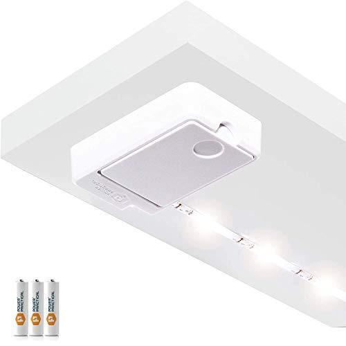Luminoodle Click | innovative LED Unterbauleuchte | warmweiß | 1 m | inkl. Batterien | Lichtleiste für Schrank Vorratskammer Küche Bad | selbstklebender LED Strip | angenehm hell | kabellos