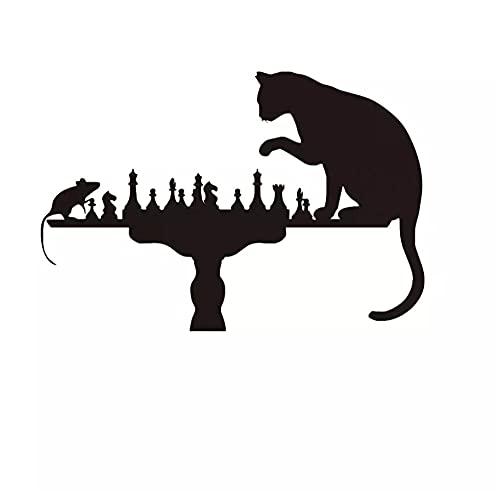 Gato negro jugando al ajedrez con ratón decoración del hogar para sala de estar viniloadhesivo extraíble 53 cm X 68 cm
