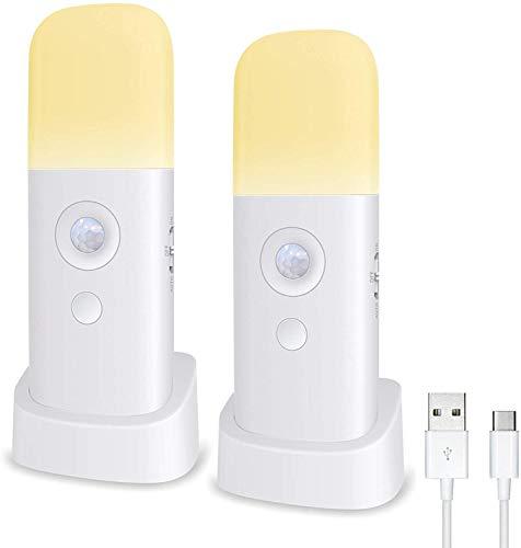Nachtlicht mit Bewegungsmelder, Wiederaufladbar, Tragbar, mit USB-Kabel, Kabellose Wandleuchte mit Automatischem Ein-und Ausschalten, für Schrank, Kleiderschrank, Küche, Treppe, Schlafzimmer(2PCS)